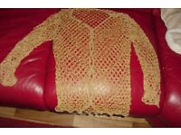 ROUGHLY SIZE 10/12 GOLD BEADED CARDIGAN