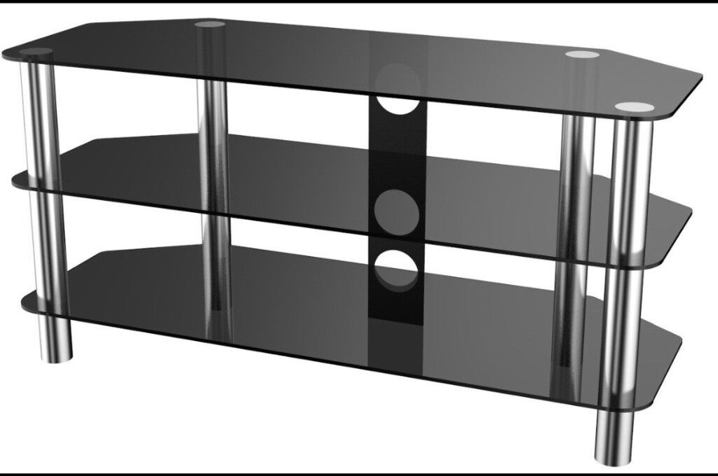 Glass/black 3 Shelf Universal TV Stand