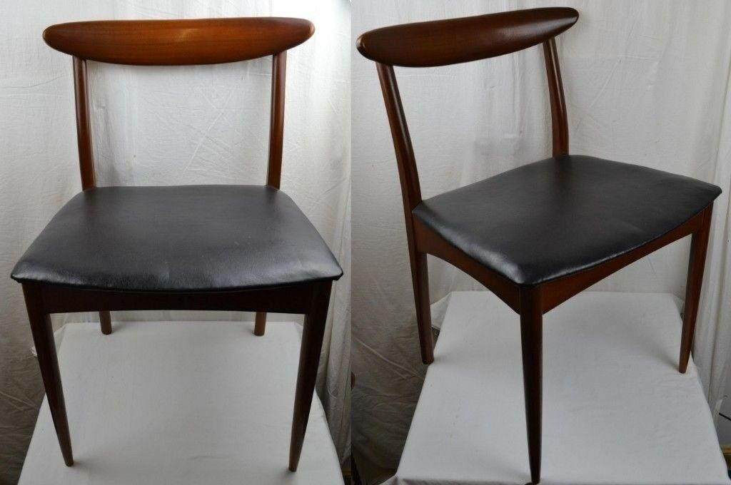 2 X Vintage Mid Century Danish Style Dining Chairs Black Vinyl Seat Covers