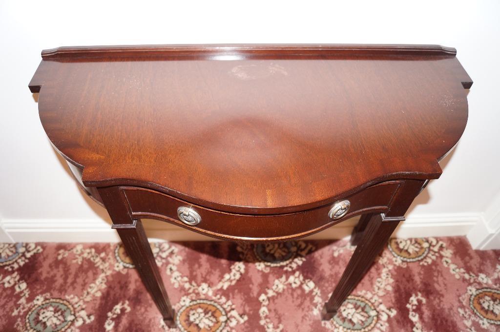 ... Broughton Hall Furniture By Dark Wood Half Moon Display Table In  Broughton ...