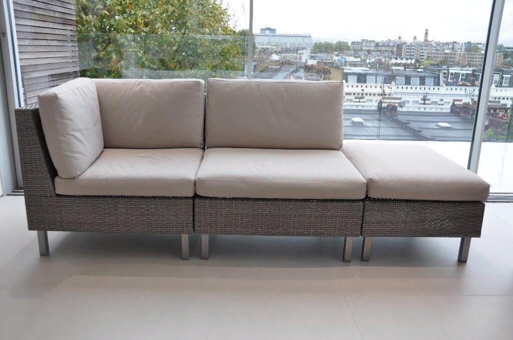 John Lewis Madrid Light Grey Outdoor Terrace Patio Lounge Sofa Set  Shepherdu0027s Bush / Brook Green