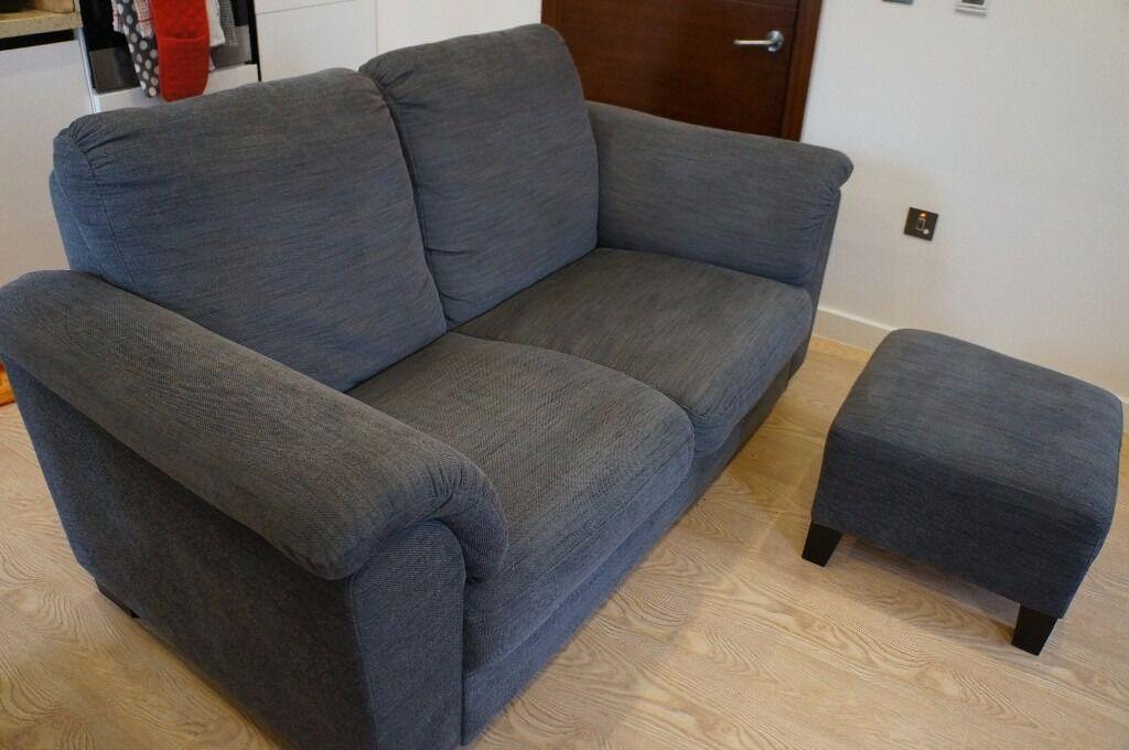 Two Seater Sofa U0026 Footstool   One Year Old, Ikea TIDAFORS, Fabric, Grey