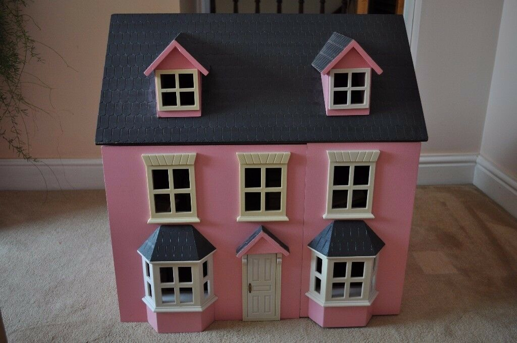 Acorn Toys Pink Traditional Georgian Style Wooden 3 Storey Dolls House With  Furniture U0026 Doll Family