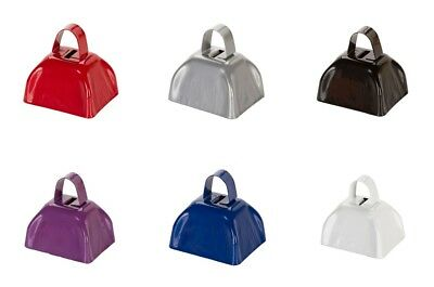 Blue Cow Bells (Set of SIX (6) Colored Metal COWBELLS Red White Blue Black Purple Silver 3