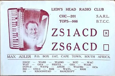 1961 Ham Radio QSL Card, ZS1ACD, Max Adler, Cape Town, South Africa