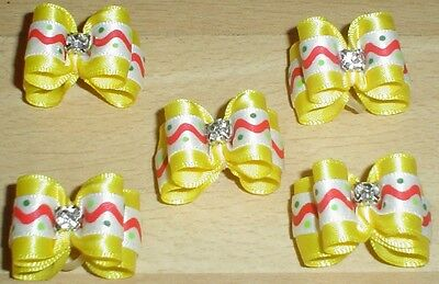 Pretty Yellow Show Type Dog Grooming Bows Diamante Centre #2