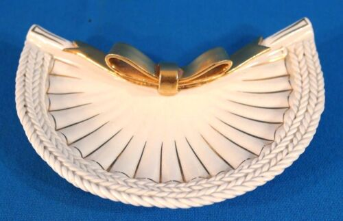 Italy Handcrafted Porcelain Half Moon Plate with Golden Ribbon Pattern