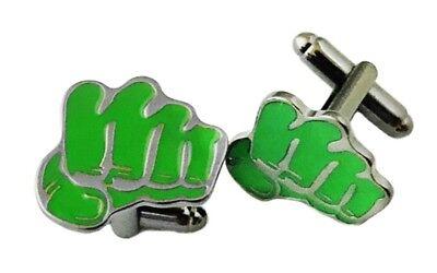 The Hulk Fist Green Metal Enamel Cufflinks](The Hulk Fist)