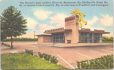 Linen Advertising Pryor's Restaurant Roadside Diner Kentucky 1940s