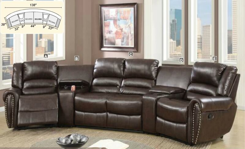 Brown Bonded Leather 5p Reclining Home Theater Glider Loveseat Console W/storage