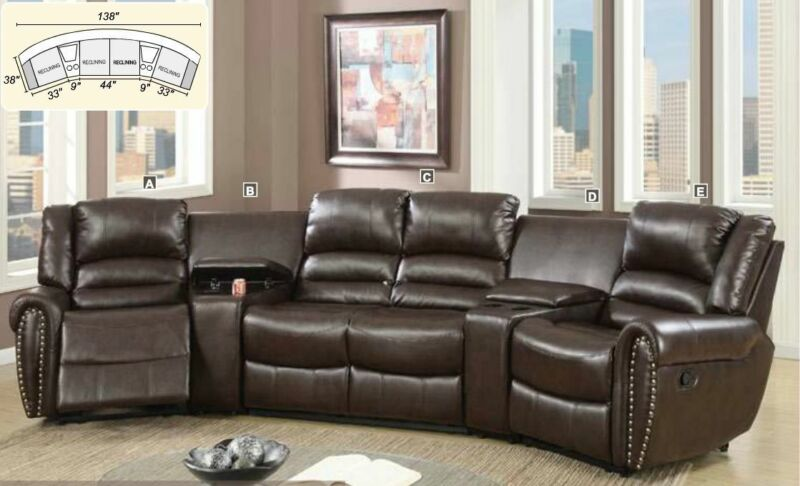 Modern 5pc Reclining Home Theater Set Brown Bonded Leather Living Room Furniture