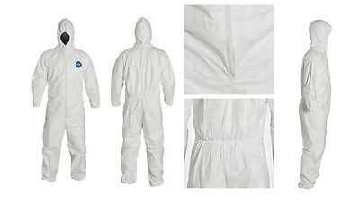 White Protective Coverall With Hood Elastic Cuff Lxl Suit For Chemical Cleanup
