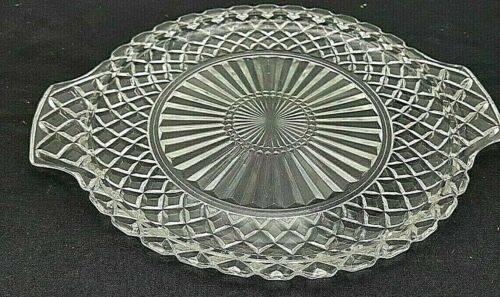 "Waffle Platters Waterford Anchor Hocking Depression Crystal Clear 12"" Handles"