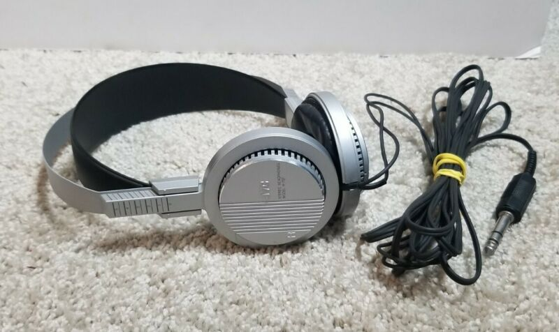 RARE! Vintage JVC H-707 Silver Stereo Headphones - WORKING!