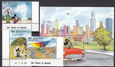 BHUTAN, 1991 Walt Disney 1386, 1390-91, Block 300 **, (22081)