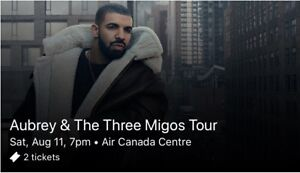 2 Floor Seat Tickets to Drake & Migos Concert August 11