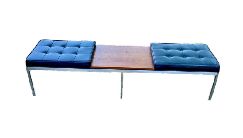 Florence Knoll Vtg Mid Century Modern Steel Tufted Bench Chair Wood Coffee Table