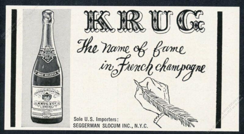1958 Krug Brut Reserve Champagne bottle art vintage print ad