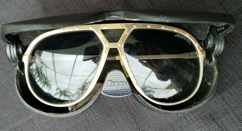 Vtg Alpina M1 Gold/Silver Two-Tone Large Aviator Sunglasses 64-14 West Germany