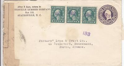 19XX, Statesville, NC to Paris, France, French Censor Tape (M1537)