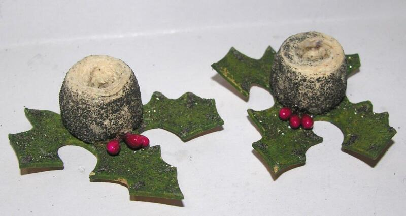 2 VTG 1930S SPUN COTTON, CARDBOARD XMAS CANDLE HOLDERS, GLITTER POINSETTIAS