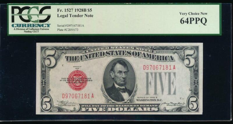 AC 1928B $5 Legal Tender PCGS 64 PPQ D-A block Fr 1527 uncirculated!