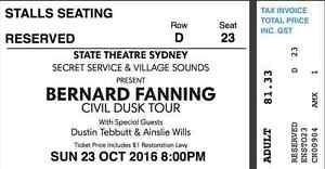 SUNDAY Bernard Fanning CHEAP $50 State Theatre Bondi Beach Eastern Suburbs Preview
