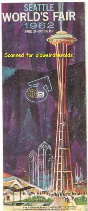 SEATTLE WORLDS FAIR 1962 ADVERISING LOT (3pc) STAMP SHEET Brochures SPACE NEEDLE