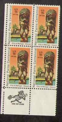 US. C84. 11c. Kil Statue Templr, National Park 100th. Zip Block 4 LL. MNH 1972 - $1.98