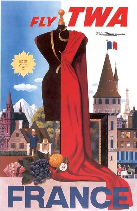 "Vintage TWA ""France"" Travel Poster"