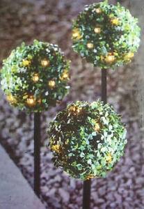 Solar Buchsbaumkugeln 3er Set mit 27 LEDs - Buchsbaum Kugeln Solarkugel Baum