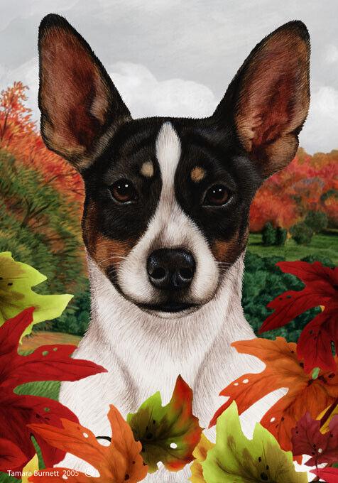 Fall House Flag - Tri Rat Terrier 13324