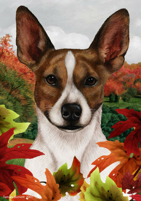Fall House Flag - Brown and White Rat Terrier 13130