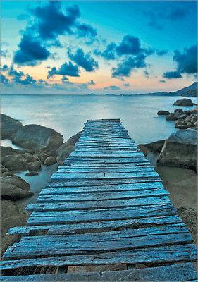 Neu 3D Bild / Poster See mit Steg Landschaft Meer Lentikular  blau 80 x 60cm