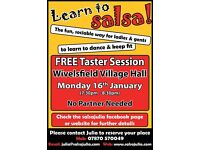 free salsa taster lesson , followers and leaders come and learn to dance salsa