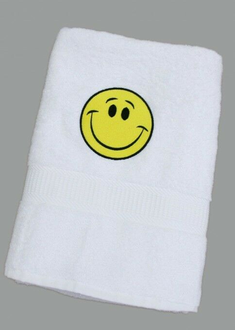 Badelaken Duschtuch Handtuch Badetuch Weiß mit Smiley gelb 70 x 140 cm Emoji neu