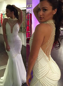 Luxury V Neck Pearl Evening Gown