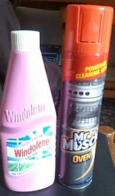 Cleaning products ( Windolene, MrMuscle Oven cleaner) almost fullb
