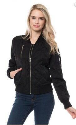 Women's Casual Quilted Jacket Short Bomber medium weight Jacket -