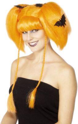 Ladies Orange Pumpkin Wig Pig tails fringe fancy dress costume Halloween Outfit  - Halloween Pigtails
