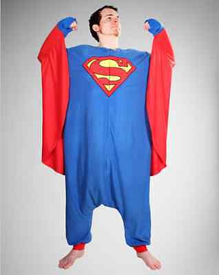 NEW Superman Costume Kigurumi One piece Hooded Mens Womans Pajamas