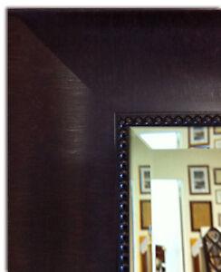 Napa Framed Wall Mirror Dark With Beaded Dark Brown