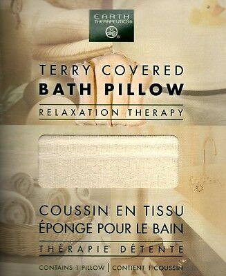 Earth Therapeutics Terry Covered Bath Pillow Inflatable Spa Travel Bathtub -