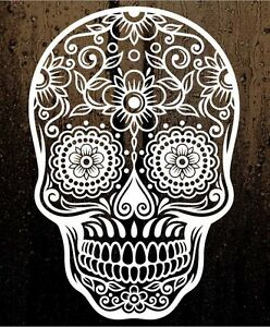 "6"" Sugar Skull Day of The Dead Die-Cut Vinyl Decal Sticker Choose Color #101"