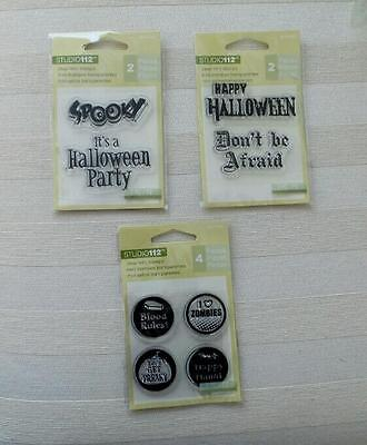 Lot of 3 STUDIO 112 Clear MINI Stamps HALLOWEEN Invite Spooky Zombies FUN Sealed - Fun Halloween Invitations