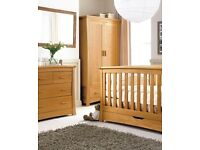 Stunning Mamas and Papas golden oak ocean cot bed set including wardrobe and chest of drawers