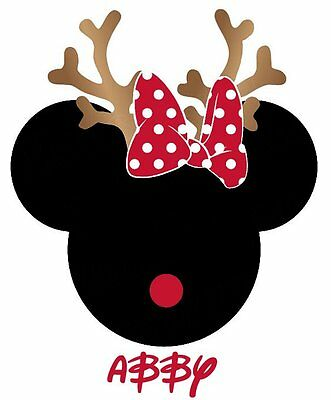 DISNEY MICKEY MINNIE MOUSE CHRISTMAS PERSONALIZED   T-SHIRT IRON ON TRANSFER](Disney Christmas Shirts Personalized)