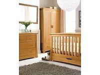 Mamas and papas 'OCEAN' solid oak cotbed, wardrobe & changing unit with draws
