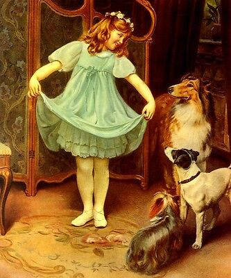 THE NEW DRESS BEAUTIFUL GIRL PLAYING WITH DOGS PAINTING BY ARTHUR ELSLEY REPRO
