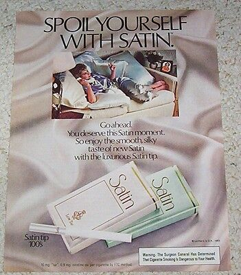 1983 vintage advertising - Satin Cigarettes lady smoking on telephone - PRINT AD
